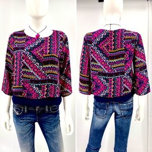 MIAMI-Size S-Multi Color Crop Top with Sheer Under